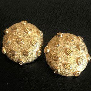 Monet Gold Tone Earrings 1980's Clip ons